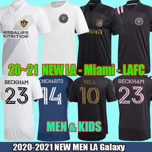 2020 2021 Los Angeles LA Galaxy Miami FC Football Maillots Beckham 20 21 Noir LAFC Carlos Vela Chicharito Football Shirt Uniformes hommes ensembles d'enfants