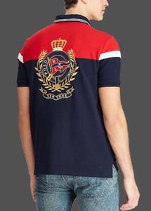 Yaz Erkek Çizgili Polo Gömlek Taç Yüksek Kalite Pamuk Spor Polos Amerikan Tasarım Klasik Tişört Lacivert Kırmızı