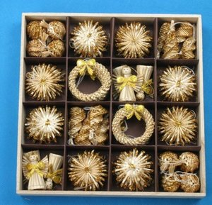 Weihnachtsdekoration Christbaumschmuck 56 stücke Set Weizenstroh Gewebt Festival Dekoration Handwerk Schneeflocke Puppe Baum Spielzeug