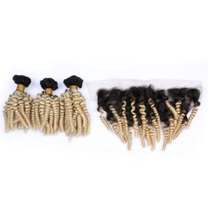 Aunty Funmi Curly # 1B 613 3Affaires Avec 13x4 Dentelle Frontale Ombre 1B 613 Extension De Cheveux Avec L'oreille À L'oreille À La Pleine Dentelle Frontal Pièces