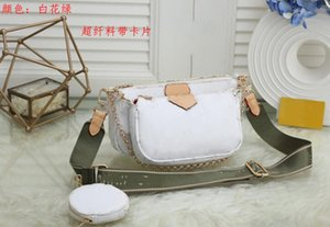 New 2020 trendy women's high quality, simple and fashionable trend versatile Crossbody Bag printing white flower three piece mahjong bag