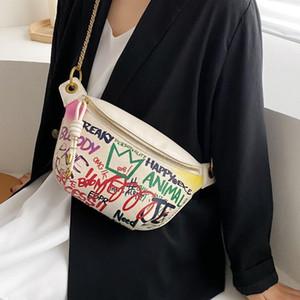 2020 Marsupio Vintage Graffiti Donne Travel Pack grande capacità femminile casual Borsello in pelle pacchetto PU Fanny Bag Ragazze cintura