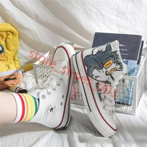 Japanese Style Anime High Shoes Tom and Jerry Canvas Shoes Men Women Student Graffiti Canvas Shoes 2019 Cute Cartoon Casual Sneakers Hococal
