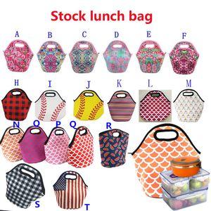 النيوبرين غداء حقيبة البيسبول الطباعة ماء الأغذية والمشروبات بينتو مربع حمل حقائب نزهة الغداء سحاب حقيبة 30x29cm