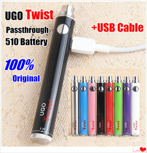 EVOD autentica Twist 510 Discussione UGO Vape Battery + USB Charger Kit variabile di tensione 3.3 ~ 4.8V Ego passthough olio vaper Penne per E Cigs atomizzatore