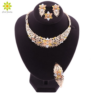 Nigerian Wedding African Costume Jewelry Set Dubai Gold Plated Neckace Earrings Set for Women Party Ethiopia Jewelry Sets