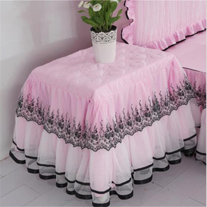 Decorative thickend cotton lace edge table dust cover 50x60cm bedside tablecloth multifunctional princess lace table cover