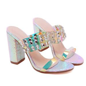 mit Box Luxus shinny Kristall Perlen Block Strass Sandelholzferse Maultiere Frauenentwerfer Ferse gleitet