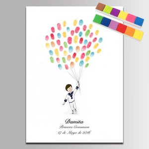 Guest Book Baby Shower Fingerprint Canvas Painting for Boys Birthday Baptism Gifts first communion baby shower souvenir painting