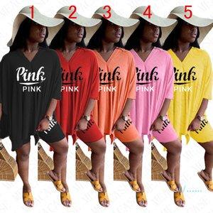 Donne di estate tuta Lettere Pantaloncini maniche abbondanti T-shirt pantaloncini gonna vestito a due pezzi Outfits vestito sport casuali S-2XL saleD51103