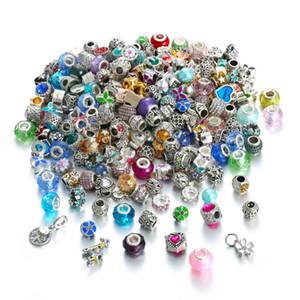 Bulk-50Pcs / Lot Art und Weise europäische Perlen Spacer Fit For Pandora Charms-Armband Zufall Art-freies Verschiffen