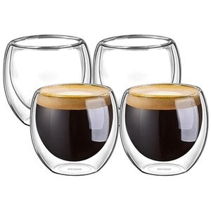 100% neue Marke Art und Weise 4pcs 80ml Double Wall Insulated Espressotassen trinkender Tee Latte Kaffeetassen Whisky-Glas Cups Trinkgefäße
