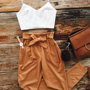 En gros 2018 automne et hiver nouveau style bretelles gilet ceinture pantalon deux pièces dames europe et amérique style occasionnel deux pièces