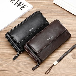 2020 Long Wallet Men Leather Vintage Clutch Wallets with Wristlet Zipper Credit Card Holder Organizer Pu Leather Purse