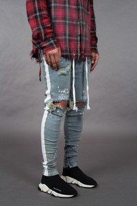 El Four Seasons Patlama Skinny Erkek Jeans Aşınmış Genç Feet Fermuar Erkek Kot Pantolon L0030 BOYUT S-3XL tarafından Frayed