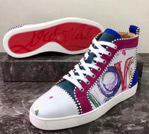 Nuovo di alta qualità pattini inferiori rossi delle scarpe da tennis degli uomini d'argento stampa Pik Pik No Limit borchie RARE casuali pattini degli appartamenti graffiti