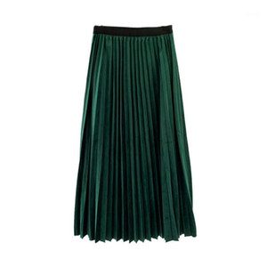 Pleated Skirts Natural Color Emprie Vintage High Street Spring AutumnPencil dress Womens Skirts Fashion Sweet Velet