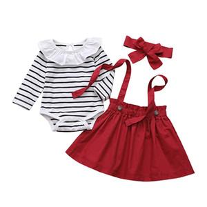 INS Baby Girl одежда Комплекты Stripped Print Romper + Suspender Юбка + оголовье Одежда Наборы весна осень длинным рукавом 3 шт набор одежды