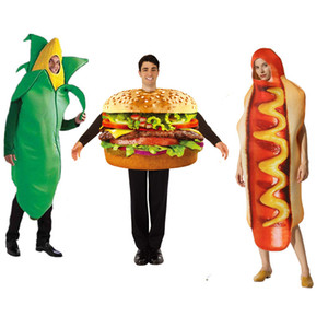 adulto pizza engraçada milho cachorro-quente Hamburger Costume Party Role Play Outfits mulheres homens Halloween Cosplay Gostoso Costumes rápidos