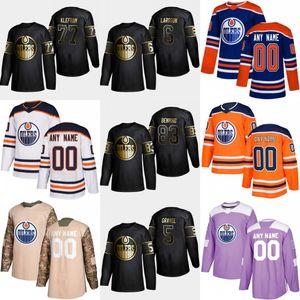 Edición de oro 2019 Edmonton Oilers 83 Matt Benning 77 Oscar Klefbom 90 Logan Día 6 Adam Larsson 5 Kevin Gravel Hockey Jersey