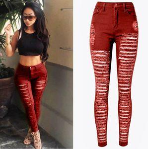 Femmes sexy détruit déchiré jean denim skinny trou pantalon taille haute stretch jeans pantalon slim crayon noir blanc bleu