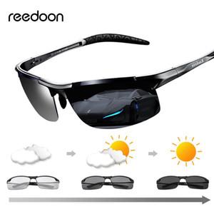 Reedoon fotossensíveis óculos polarizados lente UV400 de alumínio e magnésio óculos com armação de condução para os homens de alta qualidade