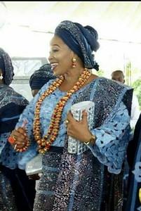 3 capas de coral rojo de perlas africanas de Nigeria boda joyería Set 45 pulgadas de oro y Coral larga declaración del collar de la CNR853