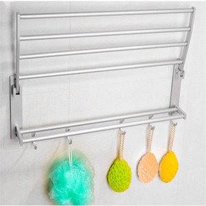 40/50 / 60cm de espacio multifuncional de aleación de aluminio de toalla del doble del estante con 5 ganchos plegable de cocina estantes de almacenamiento de baño toalla SH190920