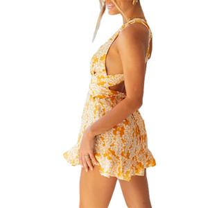 Летний принт комбинезоны женщины Комбинезон женский Комбинезон женский комбинезон боди одежда повседневная V-образным вырезом комбинезоны Комбинезоны Playsuit