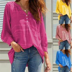 GAOKE 2020 Frühlings-Sommer-Frauen-Druck-Knopf Bluse Shirt Female Tops mit V-Ausschnitt-Art-Frauen lose Blusen