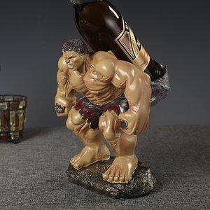 Wacky Hulk Escultura Vinho Tinto Levante Estátua gigante Polyresin decorativa Titular garrafa de água Barware ornamento Craft Acessórios