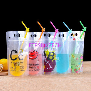 500ml 17oz New Design Plastic Drink Packaging Bag Pouch for Beverage Juice Milk Coffee, with Handle and Holes for Straw