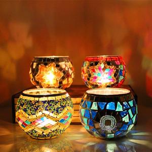 1 X Handmade Mosaic Candle Holder romântico à luz de velas da festa de casamento Jantar de vela de vidro da lâmpada decoração Home