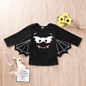 T-shirt bébé Enfants Halloween Noir Imprimé Bat Wing manches longues T-shirts Vêtements pour enfants Designer garçons Fille Hauts 1-5T 07