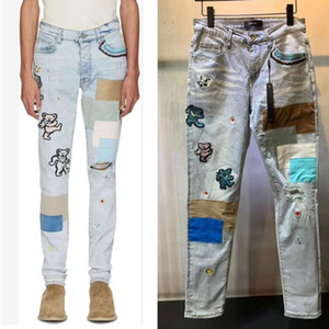 High quality Men Skinny Jeans Ripped Holes Jeans Motorcycle Biker Denim Pants AI Fashion Hip Hop Famous printing Denim Pants