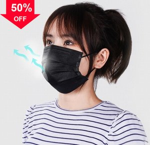 6HdLg 3 ply Disposable facemask designer for kids adults breathable protective face mask dustproof filter bacteria droplets 100 pc