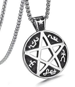 Hexagram joli collier Colliers kabbale Hermétique Talisman Hexagram pentagramme collier pendentif Amulet Salomon acier inoxydable Collier