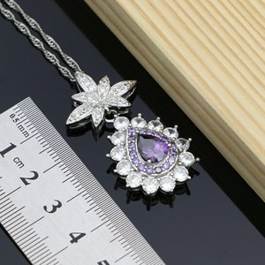 Bridal Purple Cubic Zirconia White Crystal Jewelry Sets Costume Jewelry Kits For Women Earrings Pendant Necklace Rings Bracelet