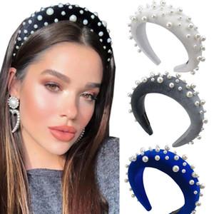 Ins Damen Perlen Stirnband 9 Farbe Mädchen Schwamm Samt-Haar-Stöcke Schwamm-Nagel-Korn-Kopf Schnalle Weinlese-Prinzessin Perle Haarschmuck 06