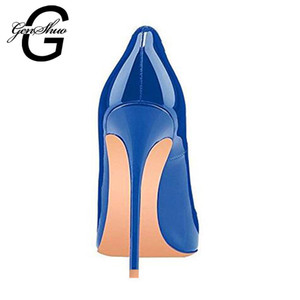 GENSHUO Kadınlar Yüksek Topuklar Ayakkabı Stiletto Yüksek Topuklar Kadınlar Ayakkabı Seksi Lacivert Kraliyet Mavi Sivri Burun Kadın Ayakkabı Şık pompaları