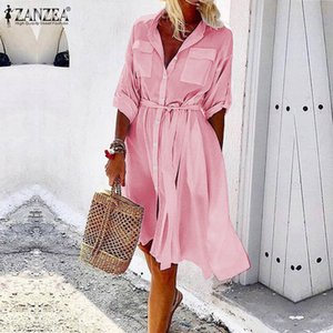 ZANZEA Plus Size Women Summer Sundress Office Lady Work Belted Shirt Dress womens Casual Buttons Pockets Vestidos Party Dresses T200416