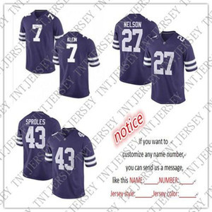 Pas cher personnalisés maillots de football Kansas State Wildcats 7 Collin Klein 27 Jordy Nelson 43 Darren Sproles point personnalisant un numéro de nom