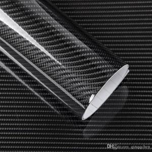 5D fibra de carbono del abrigo del vinilo de la película etiqueta engomada del coche de la motocicleta brillante camión heet Wrap rollo impermeable Decoración Accesorios para automóviles Negro 50 * 200cm