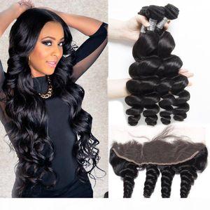 13x4 Бразильских Сыпучая волна Virgin человеческих волос Weave Связка с кружевом Фронтальной Закрытие Сыпучей волны Бразильской Дева волосы с кружевом Fronta
