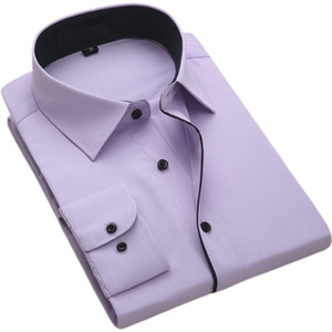 FillenGudd 2019 Fashion Long Sleeve Men Casual Dress Shirts Social Business Male Clothing with Black Collar Cheap High Quality