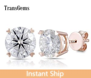 Transgems 14K 585 Rose Gold 2CTW 6.5mm FGH Color Clear Heart and Arrows Moissanite Stud Earrings Push Back for Women Gift Y200620