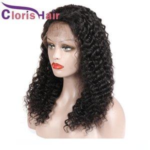 C полной плотность перуанских глубокой волны фронта шнурок парики с ребенком волосами Необработанного завитого парика человеческих волос Pre щипкового Hairline Glueless Lace Wi