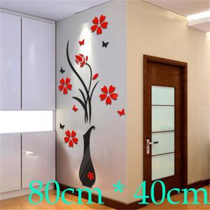 80 см*40 см DIY Home Decor ВАЗа Simle цветок дерево плакаты украшения Кристалл Arcylic 3D наклейки на стены термоаппликации Home Decor для дома D19011702