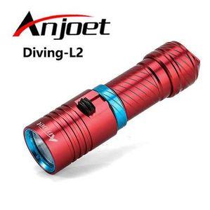 Anjoet Portable 5000LM CREE XM-L2 LED Waterproof Torch Flashlight Light Scuba 100m Underwater Diving Flashlights 18650 26650
