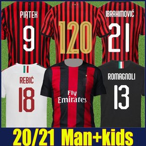 2020 AC Milan Ibrahimovic Kit enfants jersey de football 120e Anniversary Edition Paqueta ROMAGNOLI Piatek football chemises Camisa AC Milan 20/21